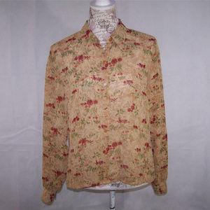 Emma James Shirt Top Sheer Floral Crinkled